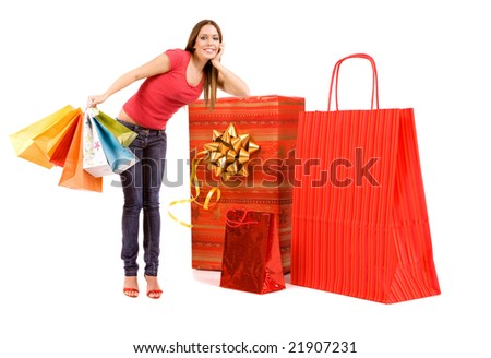 Shopping concept by woman with bags lean on gift box . - stock photo