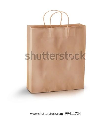 Shopping concept, empty shopping bag. - stock photo