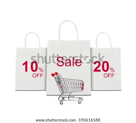 Shopping concept with cart - stock photo