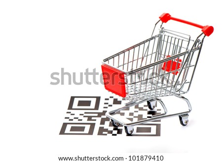 shopping concept with sample QR code and cart on white background. not working QR codes - stock photo