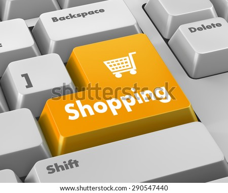 shopping enter button key on white  keyboard