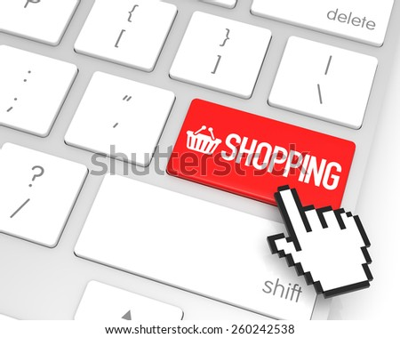 Shopping enter key with hand cursor. 3D rendering - stock photo
