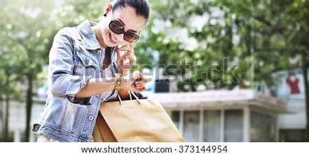 Shopping Female Woman Young Buying Purchase Concept - stock photo