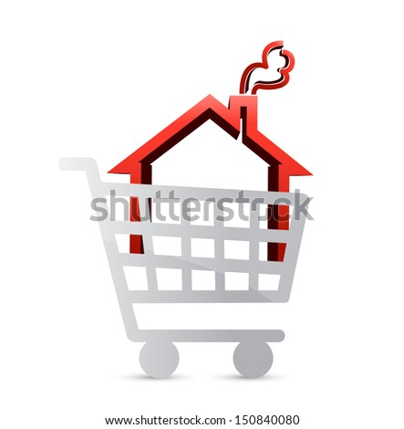 shopping for a house concept illustration design - stock photo