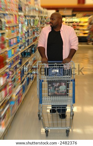 Shopping for groceries.  The choices are endless. - stock photo