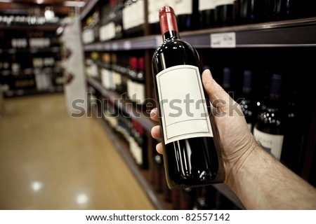 Shopping for wine horizontal (Vertical version also available in my portfolio) - stock photo