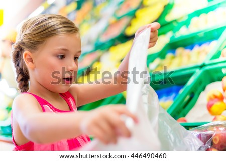 shopping fresh fruits in market - stock photo