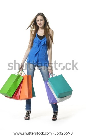 shopping girl - stock photo