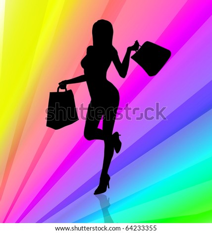 Shopping girl illustration on rainbow stripes background