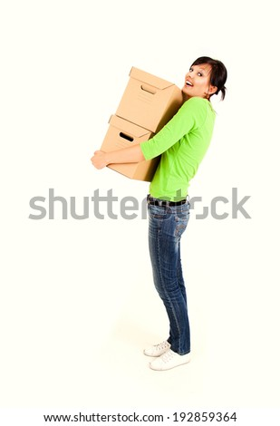 shopping girl with carton boxes, full lenght, white background - stock photo