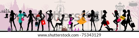 Shopping girls, Paris. Raster version of vector illustration - stock photo
