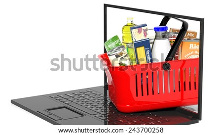 Shopping hand basket full with products on laptop, isolated - stock photo