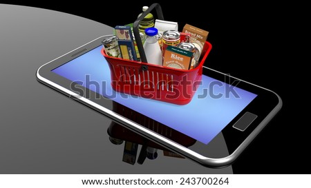 Shopping hand basket full with products on smartphone/tablet screen  - stock photo