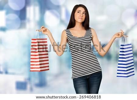 Shopping. Happy Christmas Shopper - stock photo