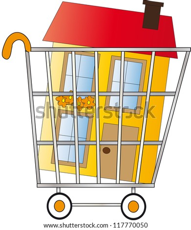 shopping home - stock photo