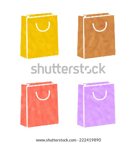 Shopping icons made from plasticine - stock photo