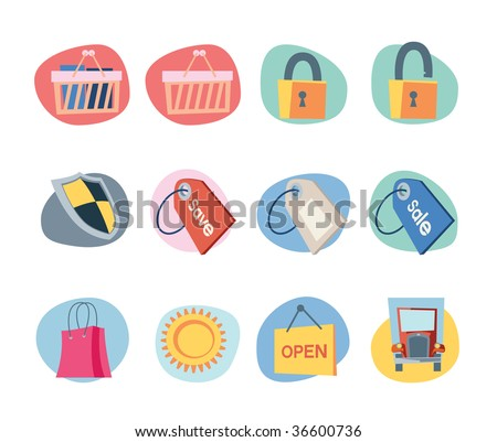 Shopping Icons Retro Revival Collection - Set 9 Professional Web icons collection for websites, applications or presentations. - stock photo