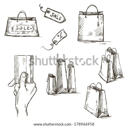 Shopping icons, sale tag, paper bags, hand with credit card illustration - stock photo