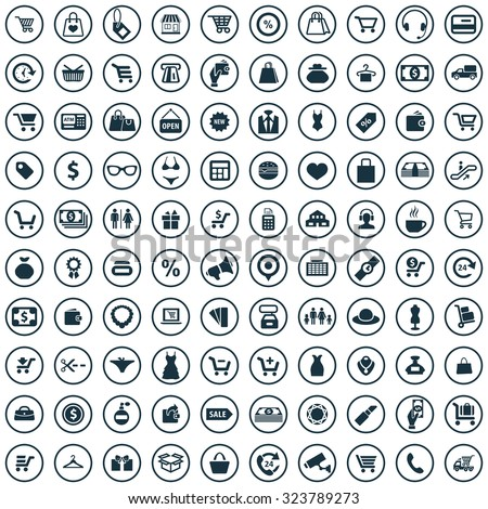 shopping 100 icons universal set for web and mobile