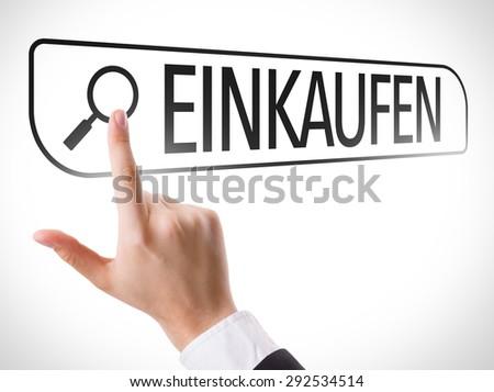 Shopping (in German) written in search bar on virtual screen - stock photo