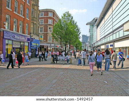 Shopping in Manchester England UK - stock photo