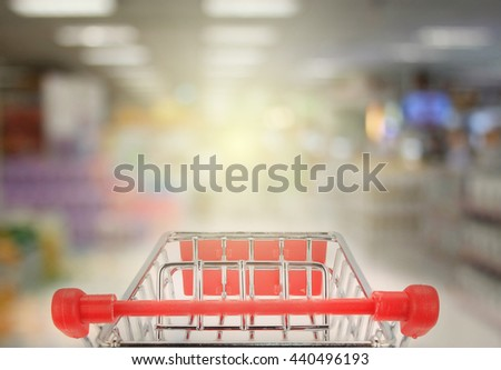 Shopping in supermarket with burst light