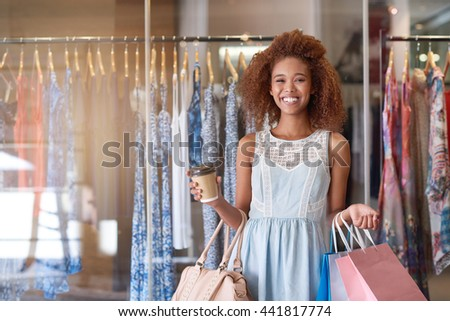 Shopping is done and now it's coffee time - stock photo