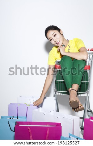 shopping Korean woman and bags
