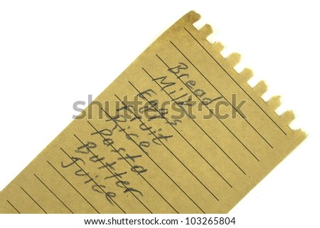 Shopping list on a natural paper - stock photo