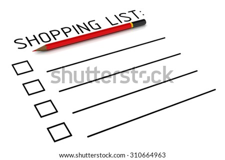 Shopping list. Red pencil and a clean shopping list