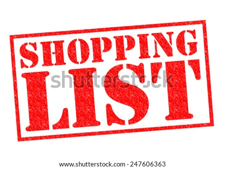 SHOPPING LIST red Rubber Stamp over a white background.