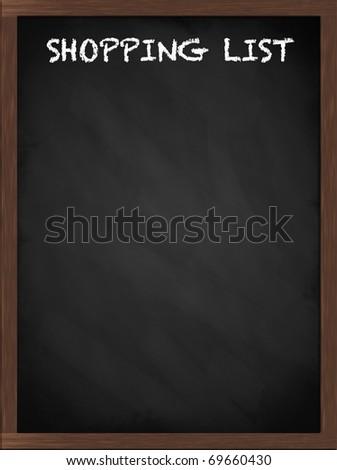 Shopping list sign on a framed blackboard - stock photo