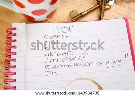 Shopping list with pet care concept and a sense of humour. Includes life's essential purchases such as chocolate and tea but also a reminder to buy de-worming tablets for Henry the dog, or cat. - stock photo