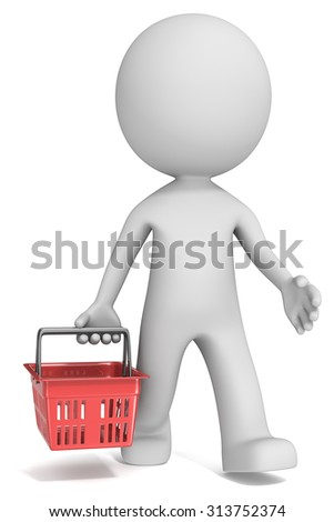 Shopping. Male 3D character walking and carrying Red Shopping Basket. Front view. - stock photo