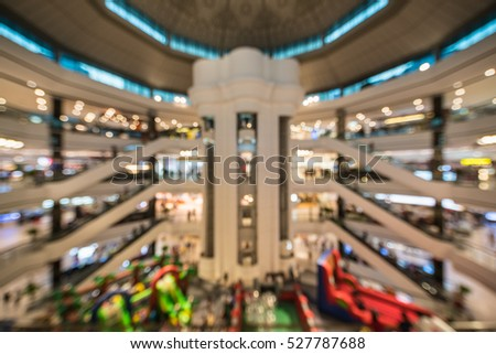 shopping mall, blur background with bokeh