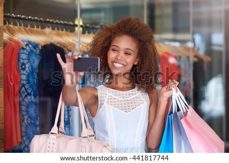 Shopping mall selfie - stock photo