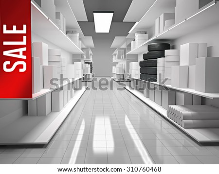 Shopping mall with products on shelves