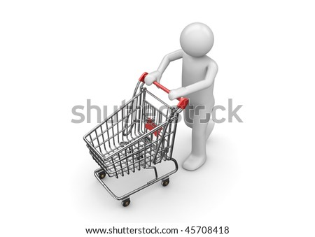 Shopping man with cart (3d isolated characters, business series) - stock photo