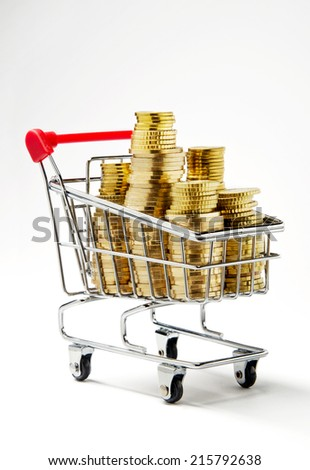 Shopping money. Shopping cart full of money - stock photo