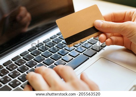 shopping on internet - stock photo