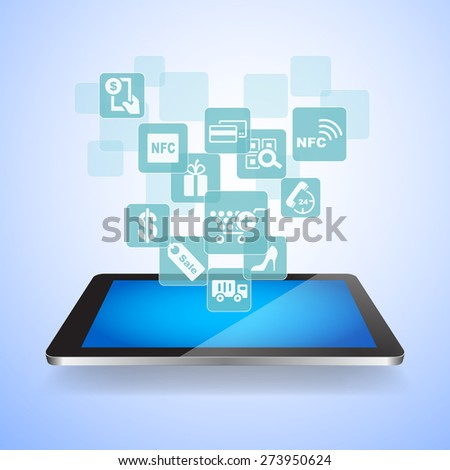 shopping on line concept - shopping icon with digital tablet pc - stock photo