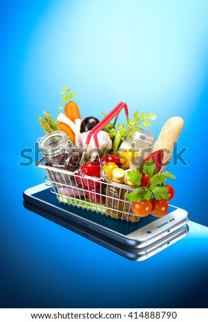 shopping on mobile phone - stock photo