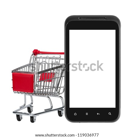 Shopping on mobile phone(blank screen). isolated on white.