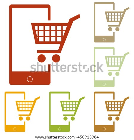 Shopping on smart phone sign. Colorful autumn set of icons. - stock photo