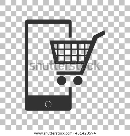 Shopping on smart phone sign. Dark gray icon on transparent background. - stock photo