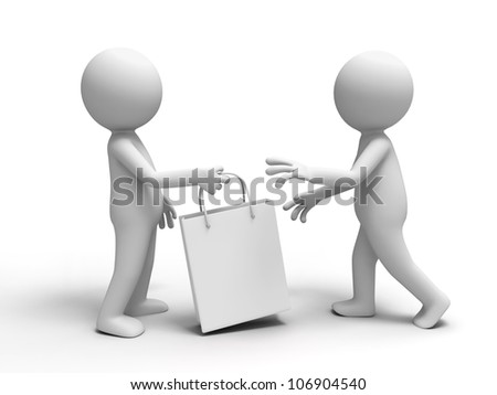 Shopping/one passed a shopping bag to the other. - stock photo