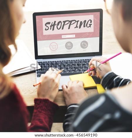 Shopping Online Buy Sale Shopaholics Concept - stock photo
