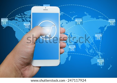 Shopping order via smart phone application - stock photo