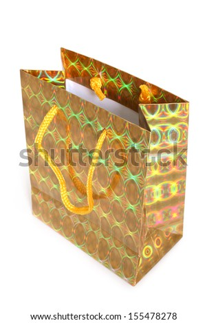 Shopping paper bag for gifts on a white background  - stock photo