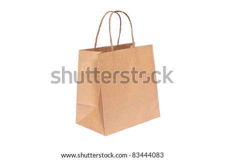 Shopping paper bag isolated on white background. - stock photo